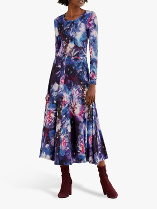Pure Collection Digital Floral Fit And Flare Dress, Blue