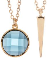 Melinda Maria Spike Pendant & Blue Topaz Necklace Set