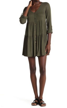 Button Front Ribbed Tiered Mini Dress