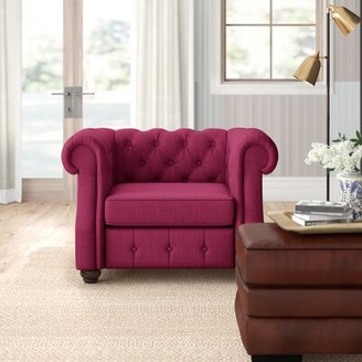 Three Posts Stowmarket Chesterfield Chair Upholstery Color: French Burgundy