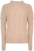 Mint Velvet All-Over Cable Knit Jumper, Light Orange