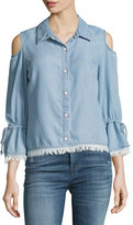 Splendid Cold-Shoulder Button-Front Chambray Shirt, Light Blue