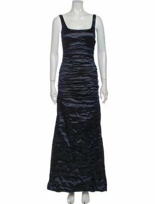 Nicole Miller Square Neckline Long Dress Blue