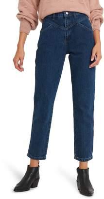 NA-KD Yoke Detail Straight Leg Jeans