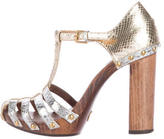 Dolce & Gabbana Metallic Embossed Sandals