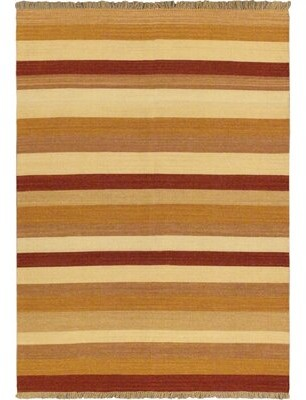 Bay Isle Home Vallejo Brown/Orange Striped Area Rug