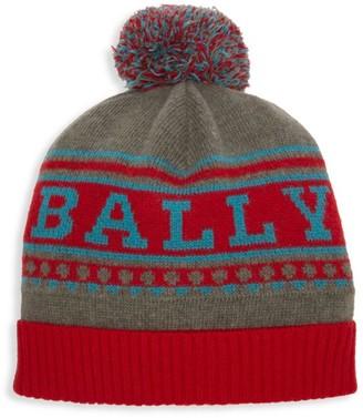 Bally Wool Logo Pom-Pom Beanie