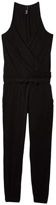 bobi Los Angeles Cami Surplice Jumpsuit in Supreme Jersey (Black) Women's Jumpsuit & Rompers One Piece