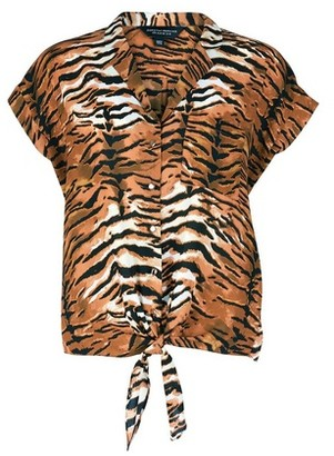 Dorothy Perkins Womens Brown Tiger Print Tie Hem Shirt, Brown