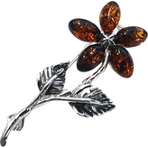 Goldmajor Amber and Sterling Silver Flower Brooch, Amber