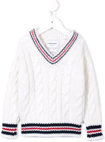 Thom Browne Kids cashmere cable knit jumper