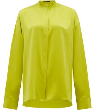 Haider Ackermann Mandarin-collar Silk-satin Blouse - Light Green