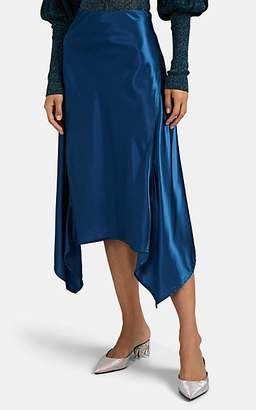 Sies Marjan Women's Darby Contrast-Stitched Satin Skirt - Blue