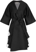 Antonio Berardi Guipure Lace-appliquéd Satin And Organza Coat - Black
