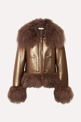 Michael Kors Shearling-trimmed Metallic Leather Bomber Jacket - Bronze
