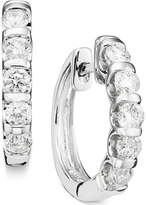 Macy's Channel-Set Diamond Hoop Earrings in 14k White Gold (1 ct. t.w.)