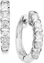 Macy's Channel-Set Diamond Hoop Earrings in 14k White Gold (1 ct. t.w.)