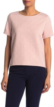 Gray La Short Sleeve Back Zip Dot Pattern Jacquard T-Shirt