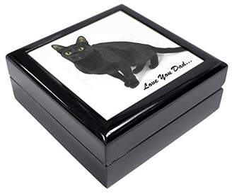 Black Cat 'Love You Dad' Keepsake/Jewellery Box Christmas Gift