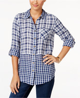 Style&Co. Style & Co. Plaid Cuffed-Sleeve Shirt, Only at Macy's