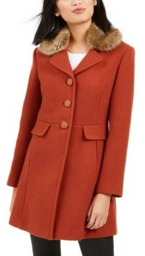 Kate Spade Faux-Fur-Trim Walker Coat