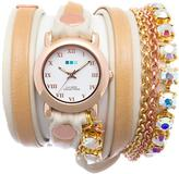 La Mer Rainbow St. Tropez 2-Tone Chain and Leather Wrap-Design Watch