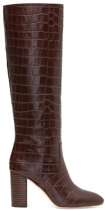 Loeffler Randall Goldy Knee-High Croc-Embossed Leather Boots