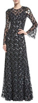 Jenny Packham Long-Sleeve Paillette-Embellished Gown