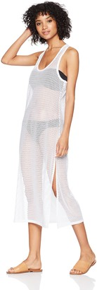 Calvin Klein Women's Solid Maxi Crochet Racerback Cover up Tank Dress