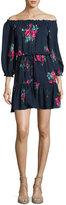 Joie Marx Floral-Print Off-the-Shoulder Silk Blouson Mini Dress, Blue