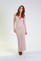 Nightcap Clothing Long Sleeve Deep V Victorian Gown in Nude