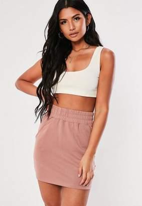 Missguided Dusty Pink Loopback Pocket Mini Skirt