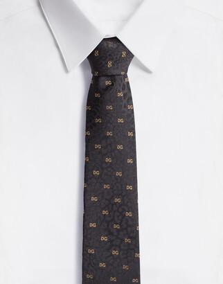 Dolce & Gabbana Leopard-Design Silk Jacquard Blade Tie With Logo (6 Cm)