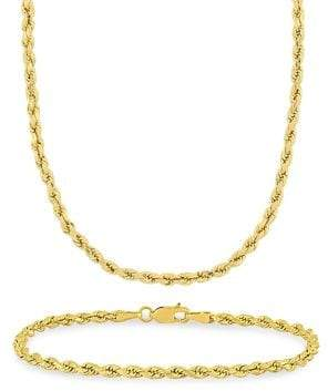 Sonatina 2-Piece 14K Yellow Gold Rope Chain Necklace & Bracelet Set