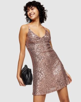Topshop Sequin Strappy Slip Dress