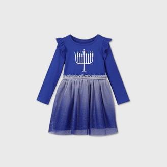 Cat & Jack Toddler Girls' Hanukkah Tulle Long Sleeve Dress - Cat & JackTM