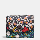 Coach Double Flap Small Wallet In Mixed Yankee Floral Print Canvas