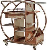 Rejuvenation Rusted Steel Art Deco Bar Cart