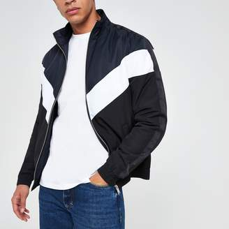 River Island Mens Navy chevron funnel neck padded jacket