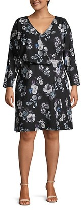 Adrianna Papell Plus Floral Long-Sleeve Wrap Dress