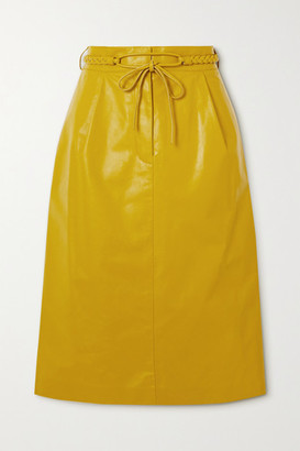 Valentino Belted Crinkled Glossed-leather Midi Skirt - Yellow