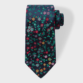 Paul Smith Men's Navy And Green Embroidered Floral Silk Tie