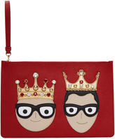 Dolce & Gabbana Red Crowned Logo Pouch