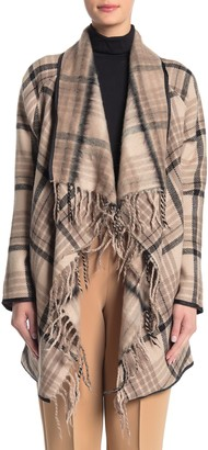Tart Sage Print Fringe Trim Wool Blend Coat