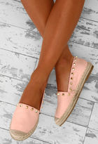Pink Boutique Jilted Lovers Pink Studded Espadrilles