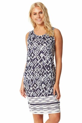 Roman Originals Women Abstract Print Slouch Shift Dress - Ladies Summer Holiday Beach Pool Casual Everyday Daywear Sun Relaxed Comfortable Sleeveless Loose Baggy Dress - Navy - Size 20