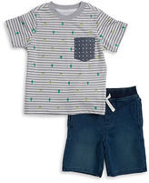 Kids Headquarters Boys 2-7 Two-Piece Printed Crewneck Tee and Chambray Shorts Set