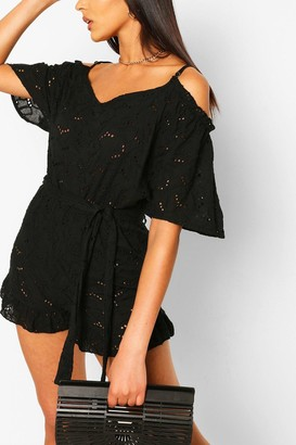 boohoo Broderie Lace Cold Shoulder Belted Playsuit