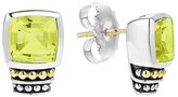 Lagos 18K Gold and Sterling Silver Caviar Color Stud Earrings with Green Quartz
