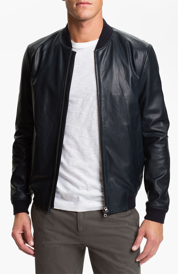 Theory Leather Bomber Jacket